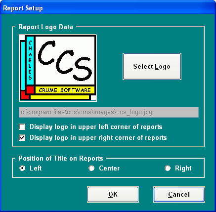 Report Setup -- we can also create custom headers to your specifications